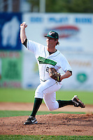 Jamestown Jammers pitcher Drew Steckenrider #20 during game one of a NY-Penn League doubleheader against the Batavia Muckdogs at Russell Diethrick Park on September 5, 2012 in Jamestown, New York.  Jamestown defeated Batavia 1-0.  (Mike Janes/Four Seam Images)