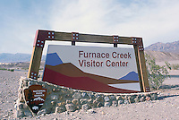 Death Valley National Park, California, CA, USA - Furnace Creek Visitor Center Sign