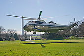 Marine One, with United States President Barack Obama and his family aboard, prepares to land on to the South Lawn of the White House in Washington, DC as the first family returns from their two week Hawaiian vacation on Sunday, January 3, 2016. <br /> Credit: Ron Sachs / Pool via CNP
