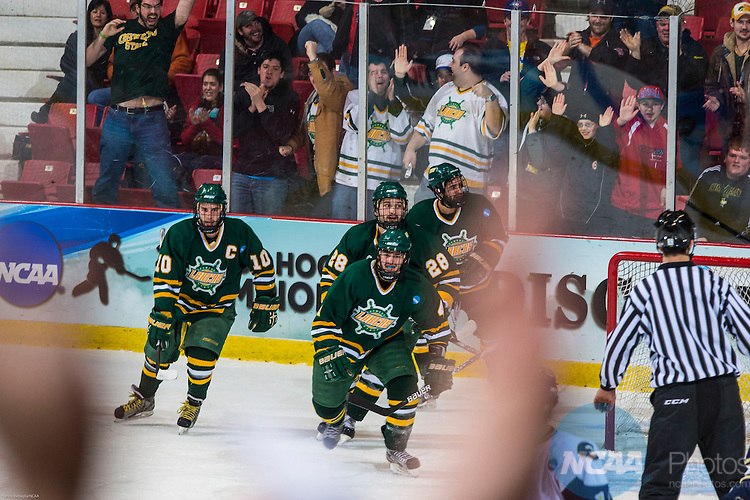 16 MAR 2013:  Oswego State and their fans celebrate their first goal during the Division lll Men's Ice Hockey Championship held at the Olympic Center in Lake Placid, NY. Wisconsin Eau Claire defeated Oswego State 5-3 for the national title. Nancie Battaglia/NCAA Photos