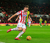 9th February 2019, bet365 Stadium, Stoke-on-Trent, England; EFL Championship football, Stoke City versus West Bromwich Albion; Sam Vokes of Stoke City clips the ball outside