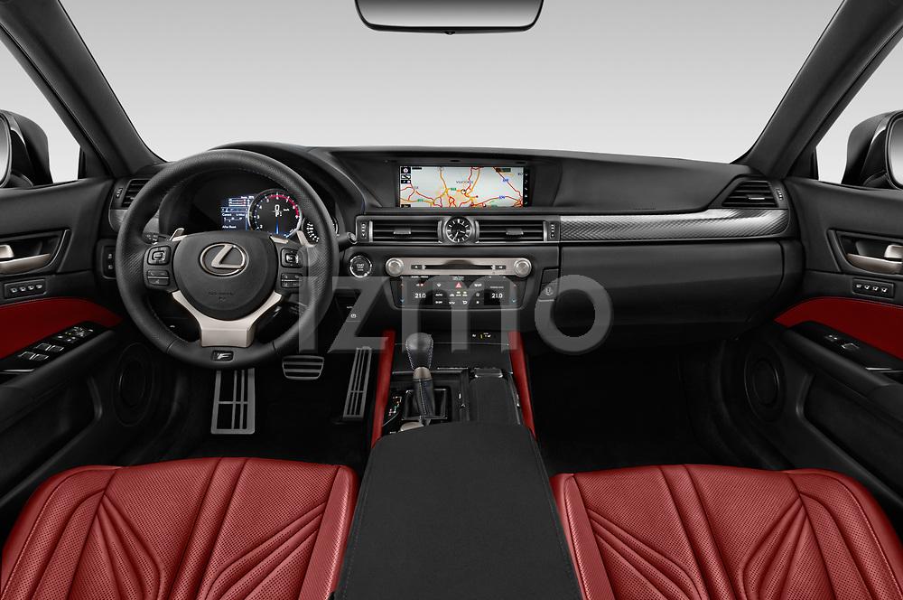 Stock photo of straight dashboard view of a 2017 Lexus GS F 4 Door Sedan