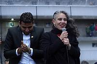 """BOGOT� -COLOMBIA, 07-08-2018: Maria Jose Pizarro, miembro del partido Colombia Humana en el parque de La Hoja en Bogotá hoy, 07 de agosto de 2018, durante la """"Marcha por la Vida"""" convocada por el excandidato presidencial y líder de """"Colombia Humana"""" Gustavo Petro y que se realiza simultaneamente en las principales ciudades de Colombia . / Maria Jose Pizarro member of Colombia Humana Party in the La Hoja park in Bogotá today, August 7, 2018, during the """"March for Life"""" convened by the former presidential candidate and leader of """"Colombia Humana"""" Gustavo Petro and which takes place simultaneously at the Main cities of Colombia. Photo: VizzorImage / Diego Cuevas / Cont"""