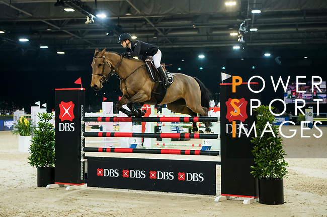 Jane Richard Philips of Switzerland riding Izmir van de Baeyenne competes in the Longines Speed Challenge during the Longines Masters of Hong Kong at AsiaWorld-Expo on 10 February 2018, in Hong Kong, Hong Kong. Photo by Diego Gonzalez / Power Sport Images