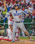 7 October 2016: Los Angeles Dodgers third baseman Justin Turner comes home to score a two-run homer in the 3rd inning of the NLDS Game 1 against the Washington Nationals at Nationals Park in Washington, DC. The Dodgers edged out the Nationals 4-3 to take the opening game of their best-of-five series. Mandatory Credit: Ed Wolfstein Photo *** RAW (NEF) Image File Available ***