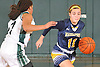 Morgan Camarda #11 of Massapequa, left, gets pressured by Aisha Smikle #11 of Farmingdale during a Nassau County varsity girls basketball game at Farmingdale High School on Saturday, Jan. 28, 2017. Massapequa won 47-44 in overtime.
