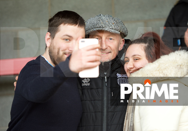 Ian Holloway Manager of Grimsby Town with fans before the Sky Bet League 2 match between Crawley Town and Grimsby Town at The People's Pension Stadium, Crawley, England on 25 January 2020. Photo by Alan  Stanford / PRiME Media Images.