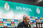 05.02.2019, Signal Iduna Park, Dortmund, GER, DFB-Pokal, Achtelfinale, Borussia Dortmund vs Werder Bremen<br /> <br /> DFB REGULATIONS PROHIBIT ANY USE OF PHOTOGRAPHS AS IMAGE SEQUENCES AND/OR QUASI-VIDEO.<br /> <br /> im Bild / picture shows<br /> Lucien Favre (Trainer / Head Coach Borussia Dortmund) bei PK / Pressekonferenz nach Spielende, <br /> <br /> Foto &copy; nordphoto / Ewert