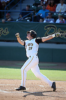 Lucas Tancas (19) of the Long Beach State Dirtbags bats against the Arizona State Sun Devils at Blair Field on February 27, 2016 in Long Beach, California. Long Beach State defeated Arizona State, 5-2. (Larry Goren/Four Seam Images)