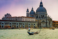 Gondola on the Grand Canal (with Chiesa della Salute in back), Venice, Italy