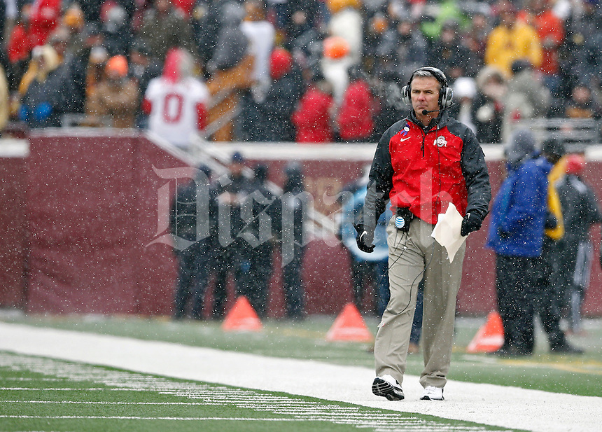 Ohio State Buckeyes head coach Urban Meyer against Minnesota Golden Gophers at TCF Bank Stadium in Minneapolis, Minn. on November 15, 2014.  (Dispatch photo by Kyle Robertson)