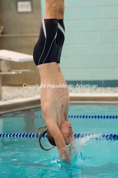 WASHINGTON, CT- 7 January 2015-010716EC07-   Shepaug's Sean Leveille performs an inward dive during competition Thursday. Shepaug won the meet over Housatonic, 97-70, in Washington. Erin Covey Republican-American