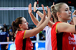 25.08.2018, …VB Arena, Bremen<br />Volleyball, LŠ&auml;nderspiel / Laenderspiel, Deutschland vs. Niederlande<br /><br />Denise Hanke (#3 GER), Louisa Lippmann (#11 GER) enttŠuscht / enttaeuscht / traurig nach Niederlage<br /><br />  Foto &copy; nordphoto / Kurth