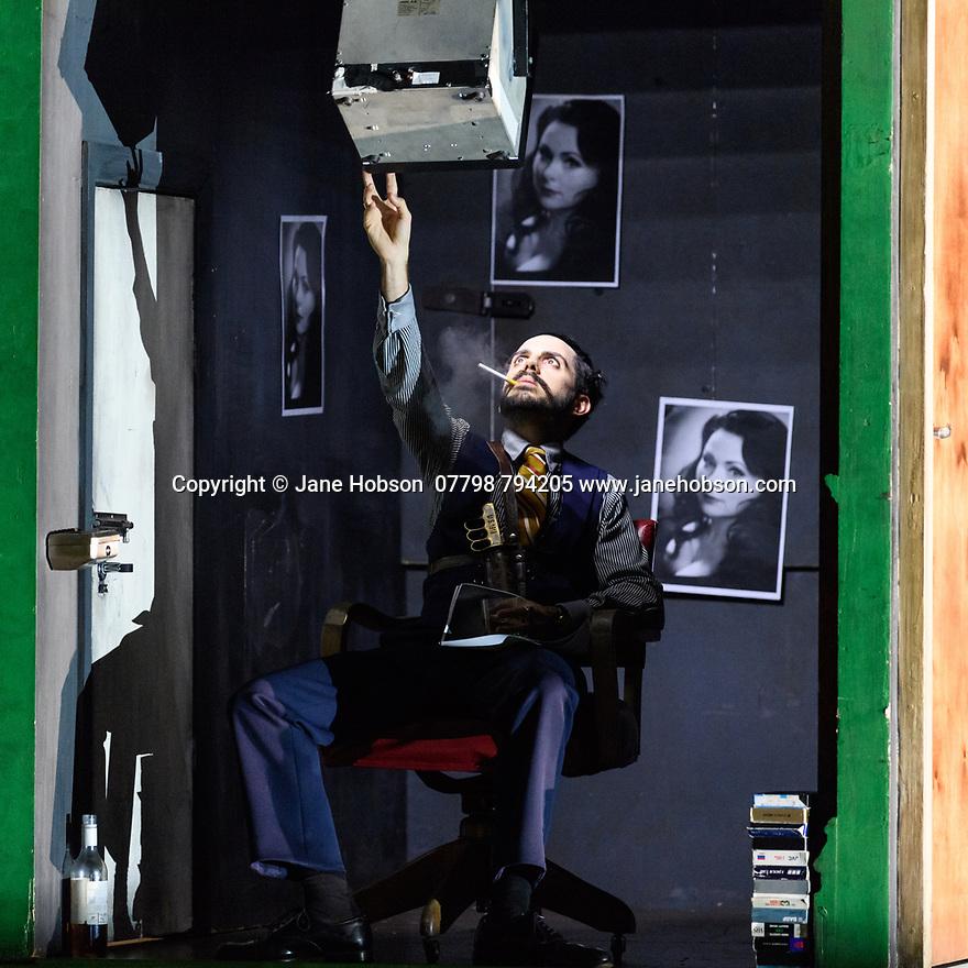 "London, UK. 24.10.2017. English National Opera presents Handel's ""Rodelinda"" at the London Coliseum.  This production is directed by Richard Jones with Donna Stirrup as revival director, set design by Jeremy Herbert and lighting design by Mimi Jordan Sherin. The cast is: Rebecca Evans (Rodelinda),  Tim Mead (Bertarido), Juan Sancho (Grimoaldo), Susan Bickley (Eduige), Neal Davies (Garibaldo), Christopher Lowrey (Unulfo), Matt Casey (Flavio). Photograph © Jane Hobson."
