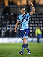 Luke O'Nien of Wycombe Wanderers celebrates the win during the Sky Bet League 2 match between Wycombe Wanderers and Hartlepool United at Adams Park, High Wycombe, England on 26 November 2016. Photo by Andy Rowland / PRiME Media Images.