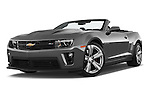 Stock pictures of low aggressive front three quarter view of a 2014 Chevrolet Camaro ZL1 2 Door Convertible Low Aggressive