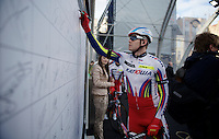 Alexander Kristoff (NOR/Katusha) signing in on stage in Bruges<br /> <br /> 99th Ronde van Vlaanderen 2015