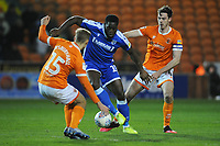 Gillingham's John Akinde under pressure from Blackpool's Kiernan Dewsbury-Hall and Ben Heneghan<br /> <br /> Photographer Kevin Barnes/CameraSport<br /> <br /> The EFL Sky Bet League One - Blackpool v Gillingham - Tuesday 11th February 2020 - Bloomfield Road - Blackpool<br /> <br /> World Copyright © 2020 CameraSport. All rights reserved. 43 Linden Ave. Countesthorpe. Leicester. England. LE8 5PG - Tel: +44 (0) 116 277 4147 - admin@camerasport.com - www.camerasport.com