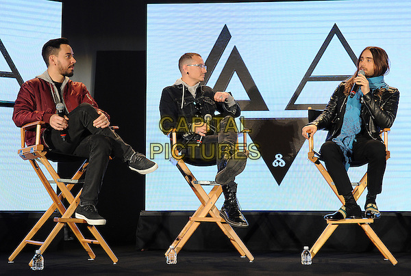 HOLLYWOOD, CA - MARCH 4: (L-R) Mike Sinoda and Chester Bennington of Linkin Park and Jared Leto of 30 Seconds to Mars during a Live Nation press conference at Milk Studio in Hollywood, California to announce the &quot;Carnivors Tour&quot;. The tour begins on August 8 in West Palm Beach and will feature Linkin Park, 30 Seconds to Mars, and AFI. <br /> CAP/MPI<br /> &copy;Micelotta/PG/MediaPunch/Capital Pictures