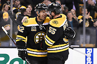 March 13, 2014 - Boston, Massachusetts , U.S. - Boston Bruins right wing Jarome Iginla (12) celebrates a goal with defenseman Johnny Boychuk (55) during the NHL game between the Phoenix Coyotes and the Boston Bruins held at TD Garden in Boston Massachusetts. Eric Canha/CSM