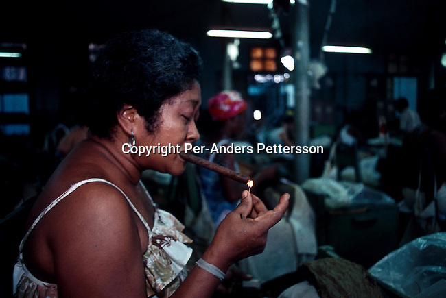 A unidentified cigar factory worker lights a cigar on July 12, 1993 in central Havana, Cuba. Cuba is famous for its excellent cigars and they are exported around the world. President Fidel Castro has ruled the communist island for over 4 decades and been in war of words with the United States all since then. They country has a good education and medical level but lacks freedom of the press and speech. .Photo: Per-Anders Pettersson/ iAfrika Photos