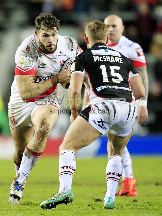 PICTURE BY CHRIS MANGNALL /SWPIX.COM...<br /> Rugby League - Super League - St Helens Saints v Castleford Tigers   - Langtree Park Stadium, , England  - 04/03/16<br /> St Helens Matt Cook   tackled by Castleford's Paul McShane