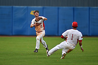 Illinois State Redbirds Sean Beesley (29) catches a fly ball as Dennis Colon (1) slides to avoid a collision during a game against the Bowling Green Falcons on March 11, 2015 at Chain of Lakes Stadium in Winter Haven, Florida.  Illinois State defeated Bowling Green 8-7.  (Mike Janes/Four Seam Images)