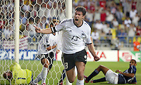 Michael Ballack celebrates his goal. The USA lost to Germany 1-0 in the Quarterfinals of the FIFA World Cup 2002 in South Korea on June 21, 2002.