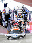 19 December 2010: Manuel Machata leads his 4-Man Bobsled team in the push-off, taking 6th place for Germany at the Viessmann FIBT World Cup Championships on Mount Van Hoevenberg in Lake Placid, New York, USA. Mandatory Credit: Ed Wolfstein Photo