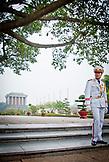 VIETNAM, Hanoi, a guard with white uniform outside Ho Chi Minh Mausoleum