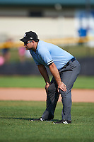 Umpire Zach Tieche during a game between the Great Lakes Loons and Clinton LumberKings on August 16, 2015 at Ashford University Field in Clinton, Iowa.  Great Lakes defeated Clinton 3-2 in ten innings.  (Mike Janes/Four Seam Images)