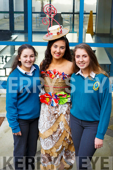Isabelle Crowe of Mercy Mounthawk modeling her creation with her fellow designers Louise O'Sullivan and Clodagh O'Sullivan for the upcoming Junk Kouture finals in Limerick.
