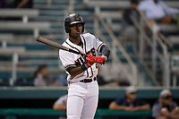 Modesto Nuts designated hitter Kyle Lewis (2) at bat during a California League game against the Lake Elsinore Storm at John Thurman Field on May 12, 2018 in Modesto, California. Lake Elsinore defeated Modesto 4-1. (Zachary Lucy/Four Seam Images)