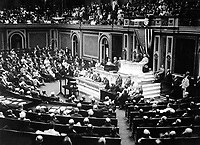 President Wilson before Congress, announcing the break in the official relations with Germany.  February 3, 1917.  Harris &amp; Ewing.  (War Dept.)<br />