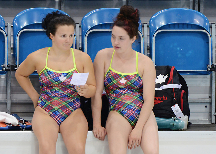 LONDON, ENGLAND – 08/24/2012: Camille Berube and Summer Mortimer during a training session at the London 2012 Paralympic Games at The Aquatic Centre. (Photo by Matthew Murnaghan/Canadian Paralympic Committee)