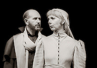 """Duke of Albany (Ken Drury) and Goneril (Anna Massey) in  """"King Lear"""" by William Shakespeare at the National Theatre, London 1986.  Directed by David Hare and designed by Hayden Griffin."""