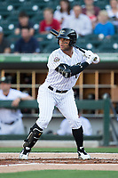 Yoan Moncada (10) of the Charlotte Knights at bat against the Durham Bulls at BB&T BallPark on May 15, 2017 in Charlotte, North Carolina. The Knights defeated the Bulls 6-4.  (Brian Westerholt/Four Seam Images)