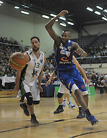 Troy McLean (left) and Bryant Markson in action during the national basketball league match between Wellington Saints and Manawatu Jets at TSB Bank Arena, Wellington, New Zealand on Tuesday, 7 May 2013. Photo: Dave Lintott / lintottphoto.co.nz