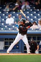 Nashville Sounds shortstop Melvin Mercedes (1) at bat during a game against the New Orleans Baby Cakes on May 1, 2017 at First Tennessee Park in Nashville, Tennessee.  Nashville defeated New Orleans 6-4.  (Mike Janes/Four Seam Images)