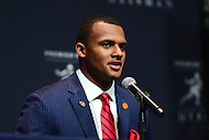 New York, NY - December 10, 2016: Clemson quarterback Deshuan Watson speaks to members of the media during a news conference for the Heisman Trophy finalists at the New York Marriott Marquis, December 10, 2016. (Photo by Don Baxter/Media Images International)