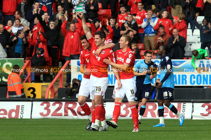 Charlton's Yann Kermorgant celebrates his goal against Wycombe - Charlton Athletic vs Wycombe Wanderers - nPower League One Football at the Valley, Charlton, London - 21/04/12 - MANDATORY CREDIT: Paul Dennis/TGSPHOTO - Self billing applies where appropriate - 0845 094 6026 - contact@tgsphoto.co.uk - NO UNPAID USE.
