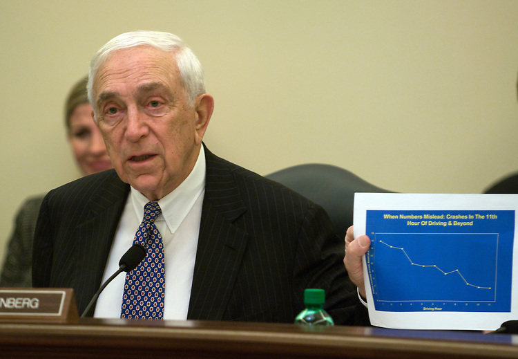 Frank Lautenberg, D-NJ., during the Surface Transportation and Merchant Marine Infrastructure, Safety and Security Subcommittee hearing on the Federal Motor Carrier Safety Administration, focusing on truck driver hours-of-service and rules and truck safety.