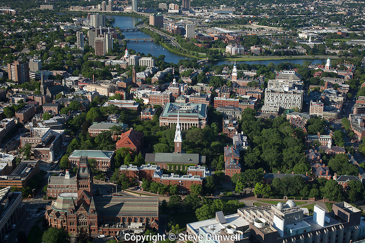 Harvard University campus aerial view, Cambridge, MA looking south over Harvard Yard towards the Charles River.