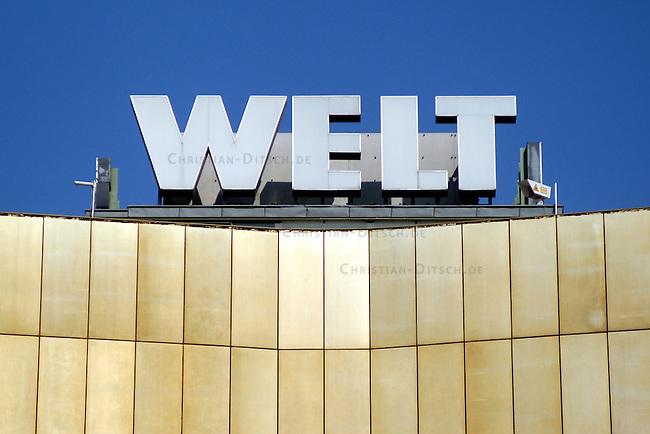 Querelen auf dem Berliner Zeitungsmarkt<br /> Die beiden Medien-Konzerne Holtzbrinck und Springer haben im Streit um die Neuordnung des Berliner Zeitungsmarkts mit der Einstellung ihrer Hauptstadt-Zeitungen gedroht.<br /> Der Holtzbrink-Konzern, Inhaber des &quot;Tagesspiegel&quot;, beabsichtigt die &quot;Berliner Zeitung&ldquo; von Gruner &amp; Jahr zu kaufen. Dazu ist eine Sondererlaubnis des Bundeswirtschaftsministers Minister Clement erforderlich. Sollte Clement diese Erlaubnis nicht erteilen, wuerde der Holtzbinck-Konzern sich vorbehalten den Tagesspiegel einzustellen.<br /> Der Springer-Konzern droht im Fall einer Kauferlaubnis durch den Bundeswirtschaftsminister seine Zeitungen &quot;Berliner Morgenpost&quot; und &quot;Die Welt&quot; einzustellen.<br /> Hier: Springer-Verlagsgebaeude, Sitz der Tageszeitung &quot;Die Welt&quot;.<br /> 23.4.2003, Berlin<br /> Copyright: Christian-Ditsch.de<br /> [Inhaltsveraendernde Manipulation des Fotos nur nach ausdruecklicher Genehmigung des Fotografen. Vereinbarungen ueber Abtretung von Persoenlichkeitsrechten/Model Release der abgebildeten Person/Personen liegen nicht vor. NO MODEL RELEASE! Nur fuer Redaktionelle Zwecke. Don't publish without copyright Christian-Ditsch.de, Veroeffentlichung nur mit Fotografennennung, sowie gegen Honorar, MwSt. und Beleg. Konto: I N G - D i B a, IBAN DE58500105175400192269, BIC INGDDEFFXXX, Kontakt: post@christian-ditsch.de<br /> Bei der Bearbeitung der Dateiinformationen darf die Urheberkennzeichnung in den EXIF- und  IPTC-Daten nicht entfernt werden, diese sind in digitalen Medien nach &sect;95c UrhG rechtlich geschuetzt. Der Urhebervermerk wird gemaess &sect;13 UrhG verlangt.]