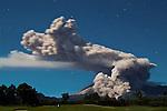 A 6-kilometer-long plume of volcanic ash erupts from Mount Merapi, Yogyakarta, Indonesia on 10 June 2006.