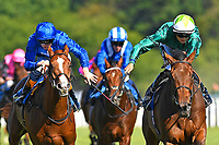 Winner of The British Ebf Venture Security Maiden Stakes   Thimbleweed (r) ridden by Harry Bentley and trained by Ralph Beckett  during Whitsbury Manor Stud Bibury Cup Day Racing at Salisbury Racecourse on 27th June 2018
