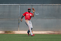Cincinnati Reds center fielder CJ McElroy (57) during a Minor League Spring Training game against the Chicago White Sox at the Cincinnati Reds Training Complex on March 28, 2018 in Goodyear, Arizona. (Zachary Lucy/Four Seam Images)