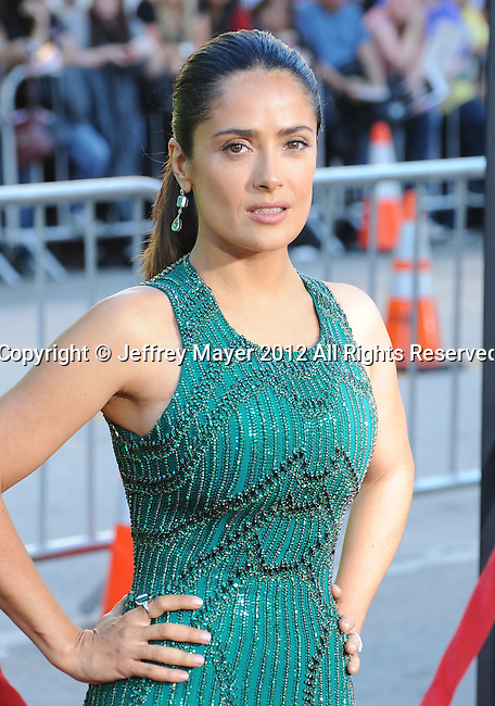 WESTWOOD, CA - JUNE 25: Salma Hayek arrives at the Los Angeles premiere of 'Savages' at Mann Village Theatre on June 25, 2012 in Westwood, California.