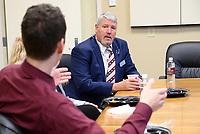 Tayor Lyne Alumni Fellow meeting with students