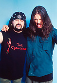 PANTERA - drummer Vinnie Paul Abbott and vocalist Phil Anselmo - photosession backstage at the Academy Brixton London UK - 30 Apr 2000.  Photo credit: George Chin/IconicPix
